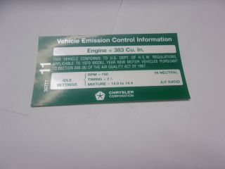 1970 383-4 AT EMISSIONS DECAL AFTER 1-1-70