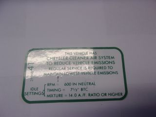 1968-69 383-2V, 440-4V MT EMISSIONS DECAL
